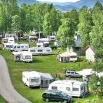 mange vogner på campingplassen