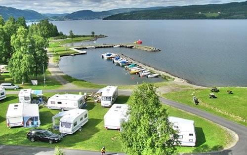 Campingplass på Biristrand i Innlandet
